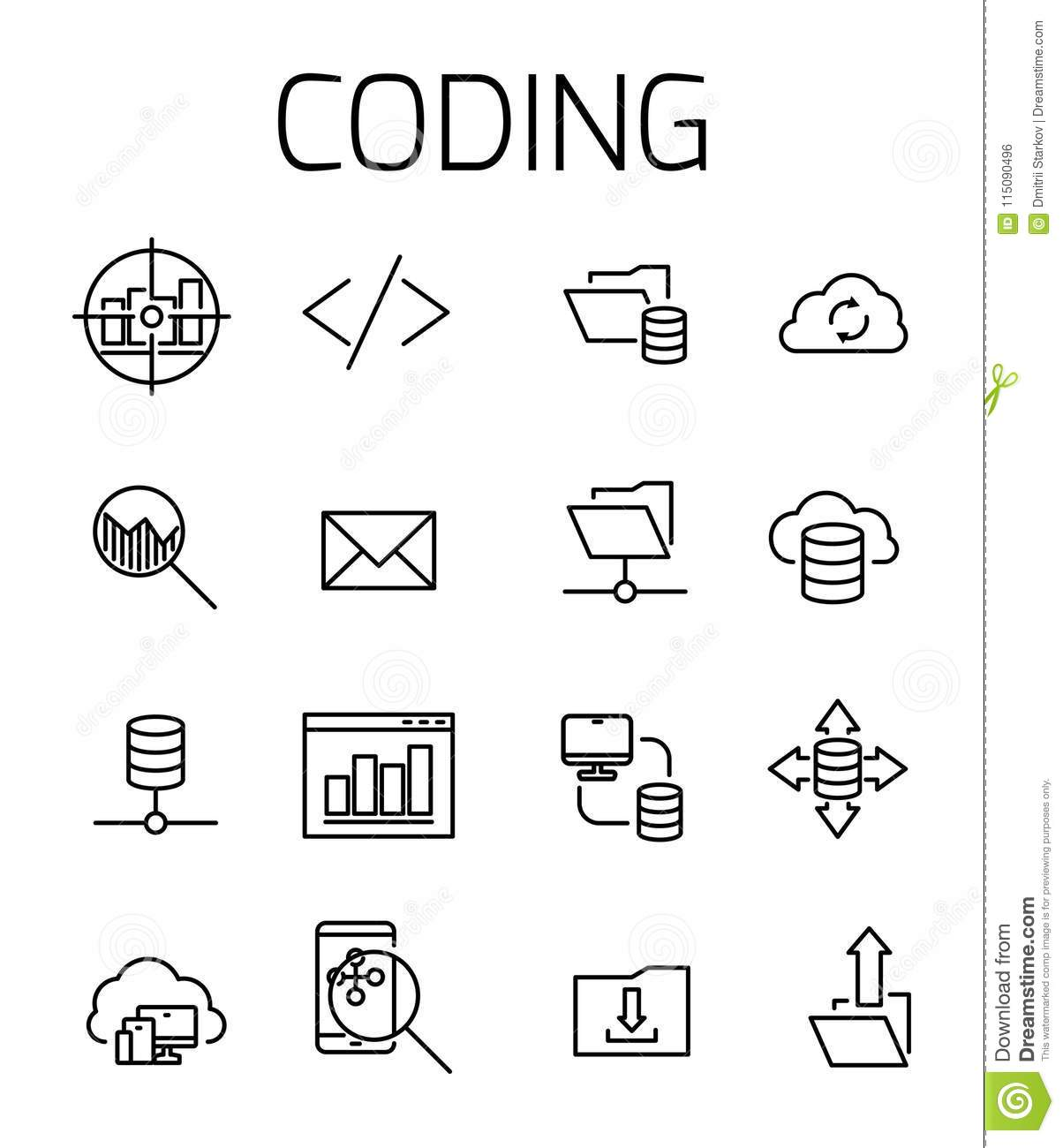 Coding Related Vector Icon Set. Stock Vector