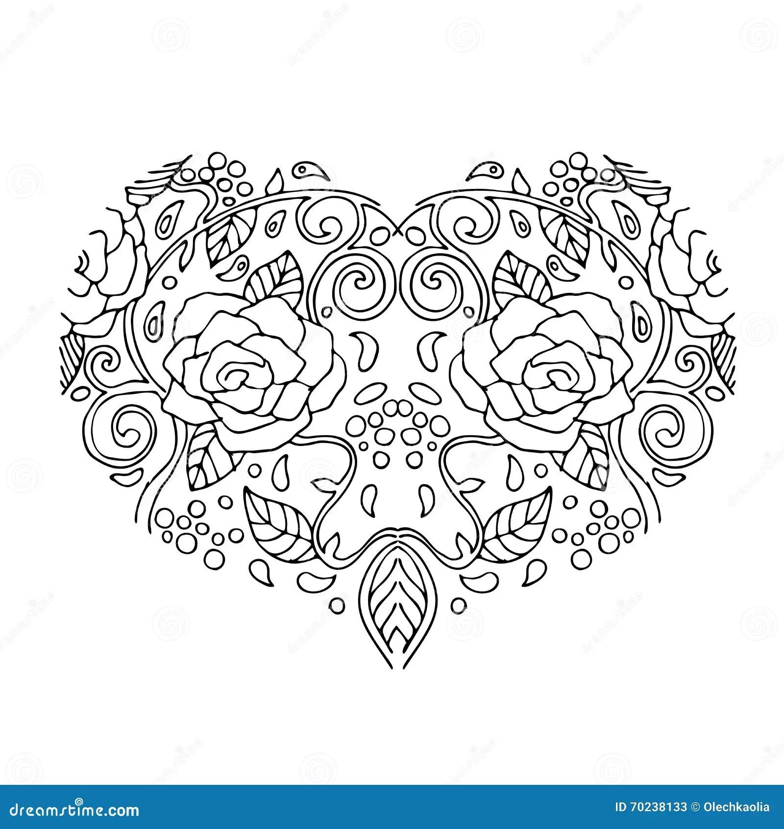 Coeur Decoratif D Amour Avec Des Fleurs Carte De Jour De