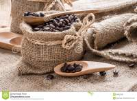 Coffee Beans In Coffee Bag Made From Burlap Stock Photo ...
