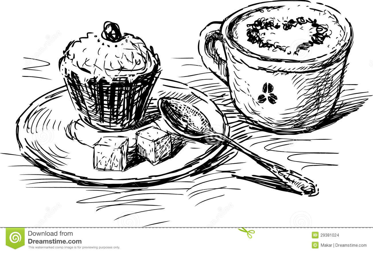 Coffee With Cake Stock Vector Illustration Of Saucer
