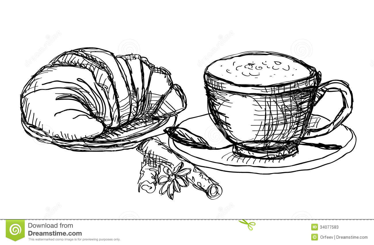 Coffee And Croissant Stock Vector Illustration Of Drawing