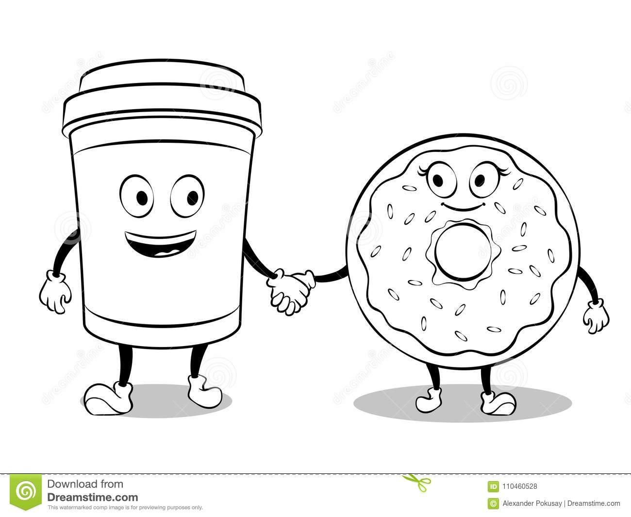 Coffee Cup And Donut Coloring Book Vector Stock Vector