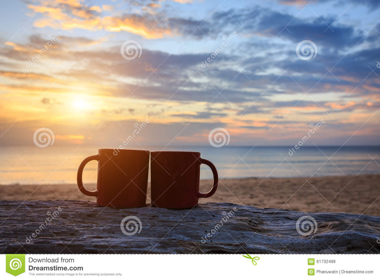Coffee Cup On Wood Log At Sunset Or Sunrise Beach Stock