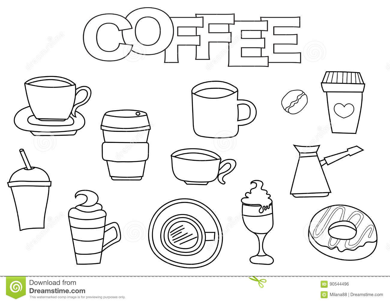 Coffee Elements Hand Drawn Set. Coloring Book Template