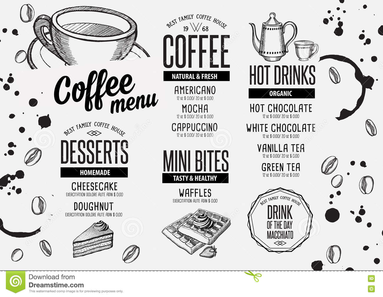 Coffee Menu Placemat Food Restaurant Brochure And Cafe