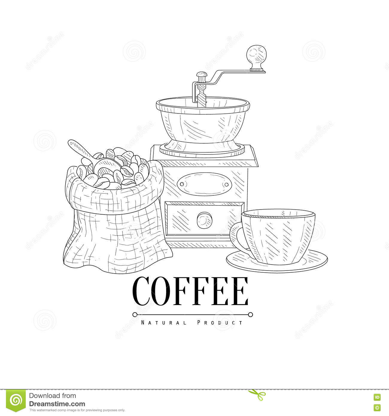 Hand Drawn Coffee Grinder Royalty-Free Stock Photo