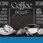 Coffee Restaurant Brochure Vector Coffee Shop Menu Design Vector Cafe Template With Hand Drawn Graphic Coffee Flyer Stock Vector Illustration Of Americano Isolated 164509084