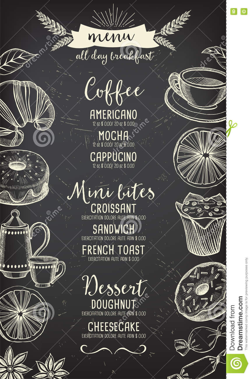 Coffee Restaurant Cafe Menu Tea Board Template Design