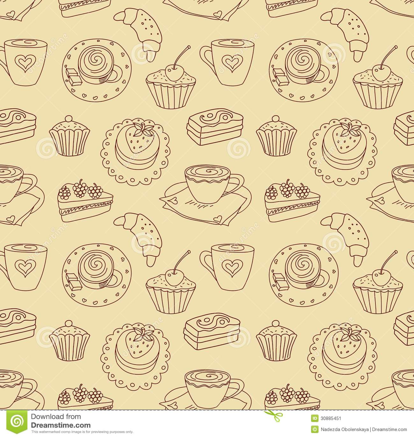 Cute Coffee Mug Wallpaper Coffee Seamless Line Pattern Stock Image Image 30885451