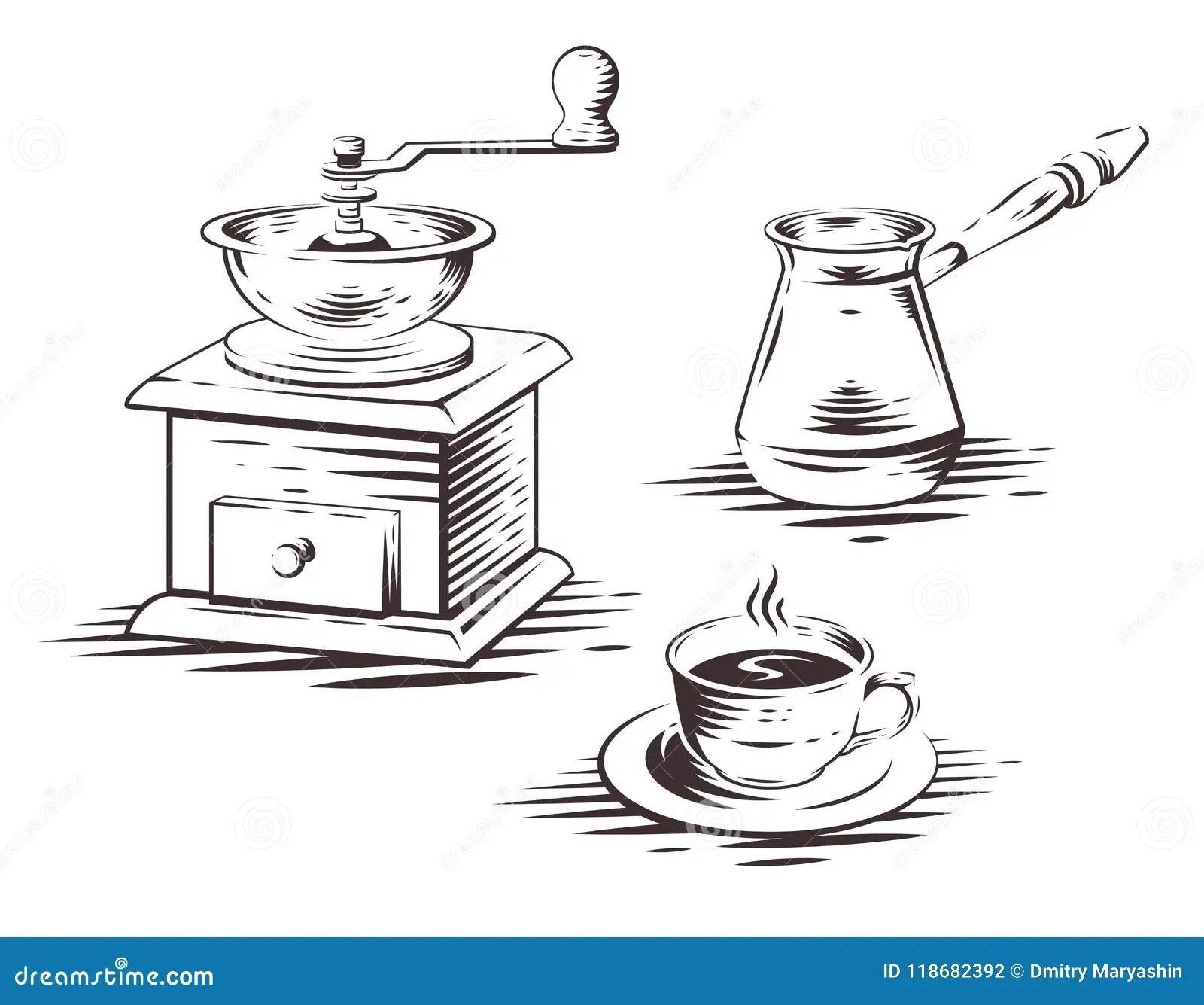 Coffee Set With Manual Coffee Grinder, Coffee Maker Press