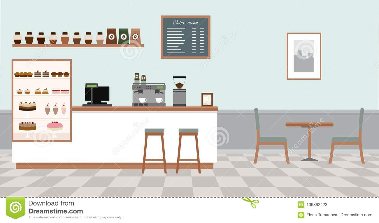 Bar Table With Chairs Coffee Shop With White Bar Counter Table And Chairs Stock Vector