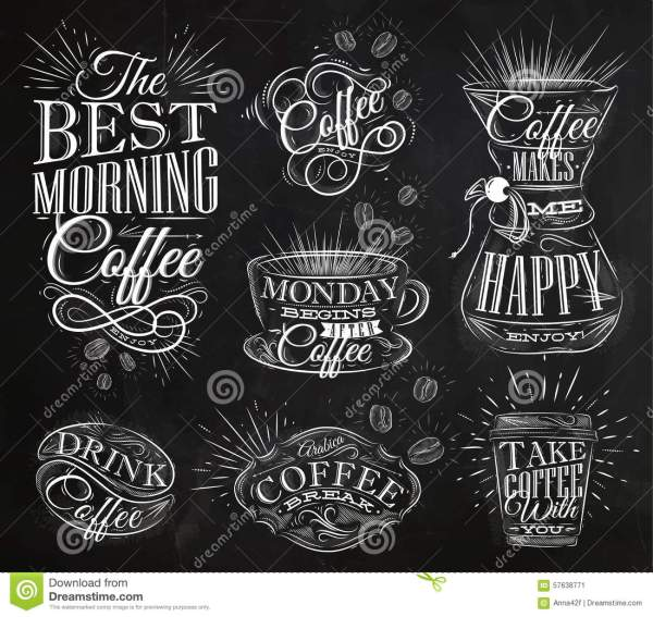 Coffee Signs Chalk Stock Vector - 57638771