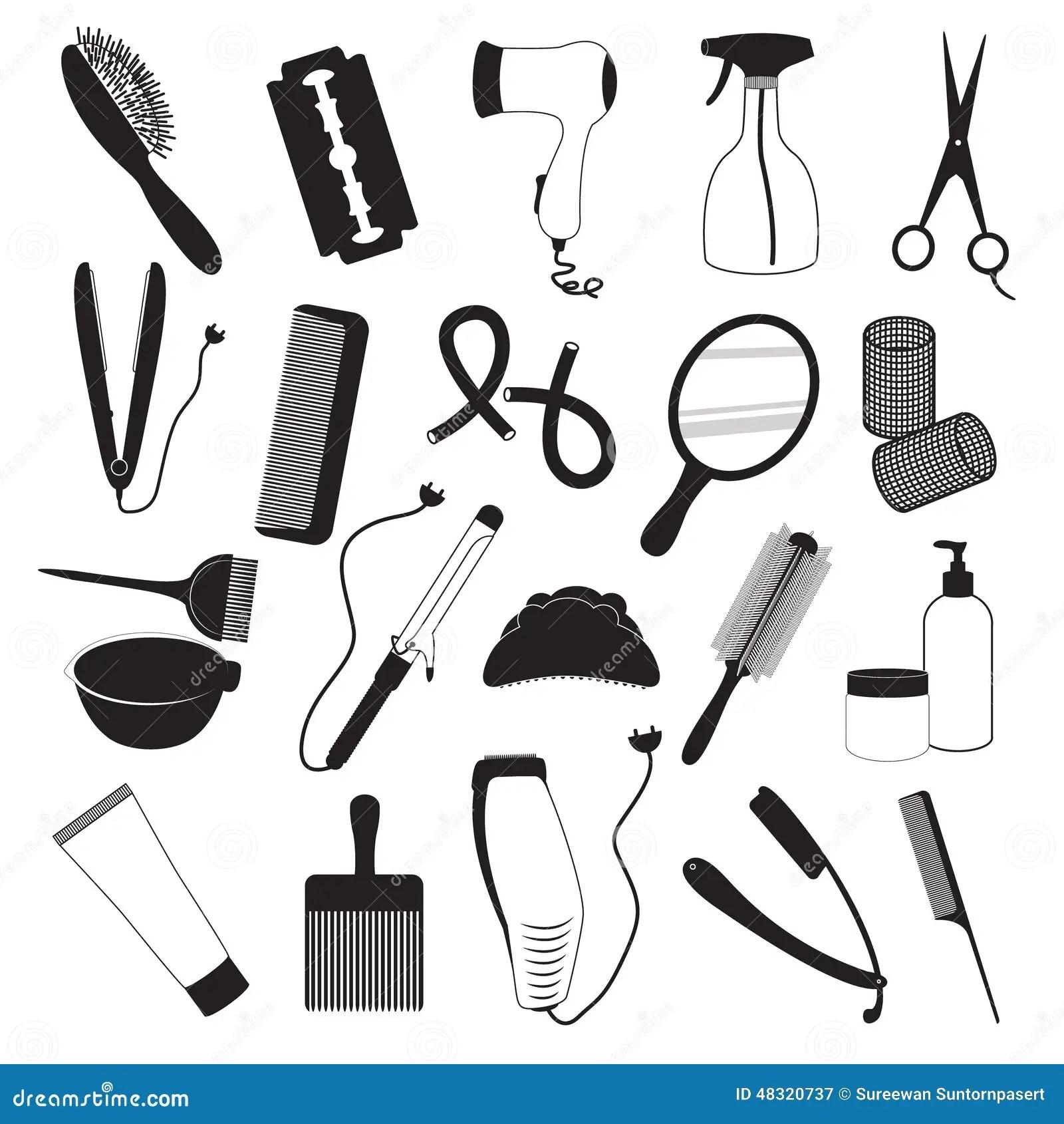 Coiffure Et Barber Shop Icons Set Illustration de Vecteur