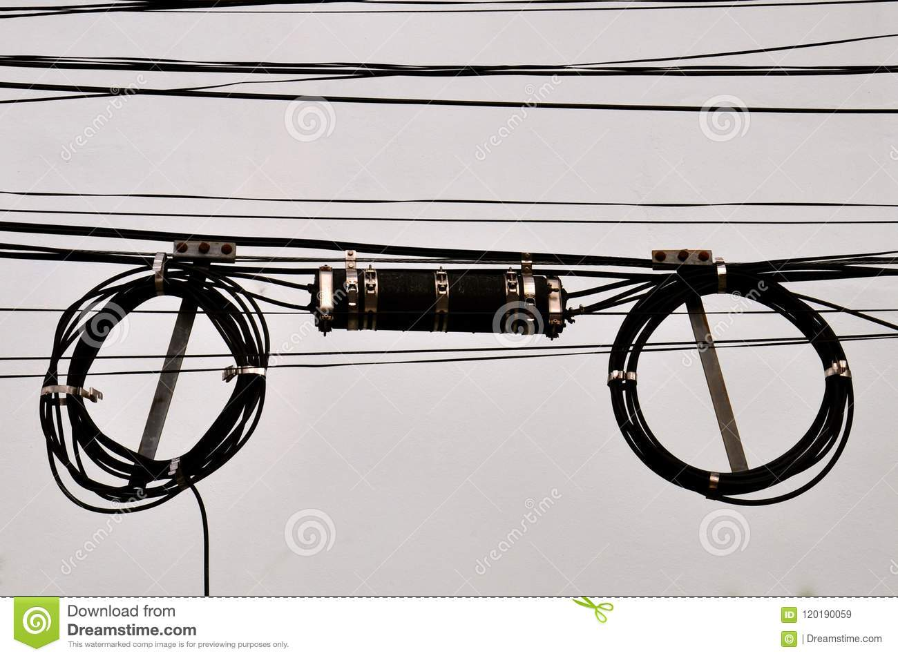 hight resolution of coiled telephone wires and junction box