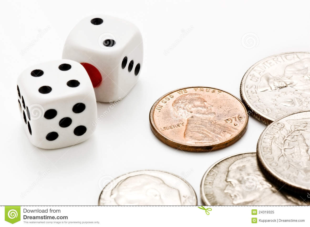 Coins And Dice Royalty Free Stock Photo