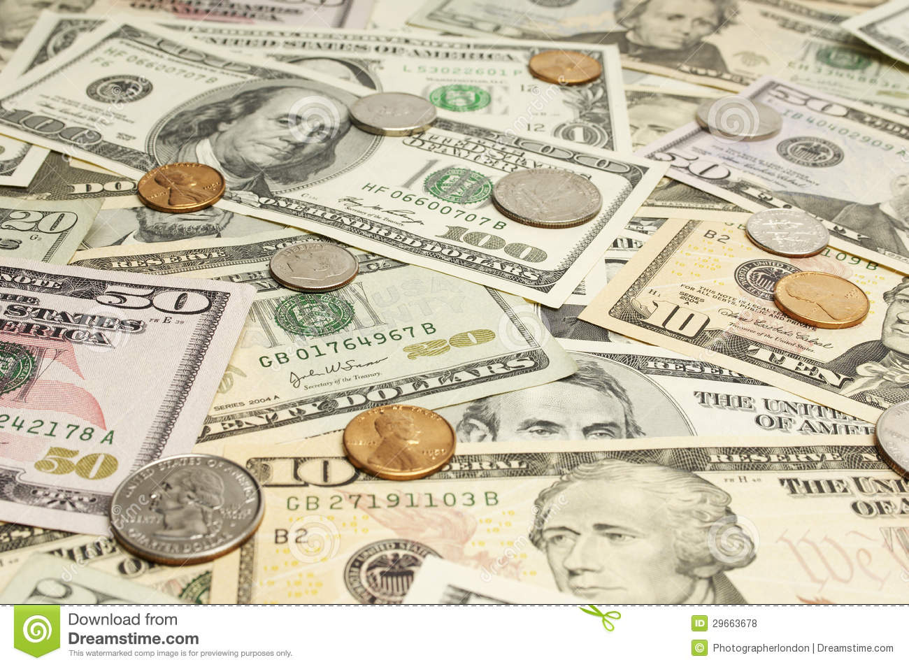 Coins On Dollar Bills Stock Photo Image Of Currency