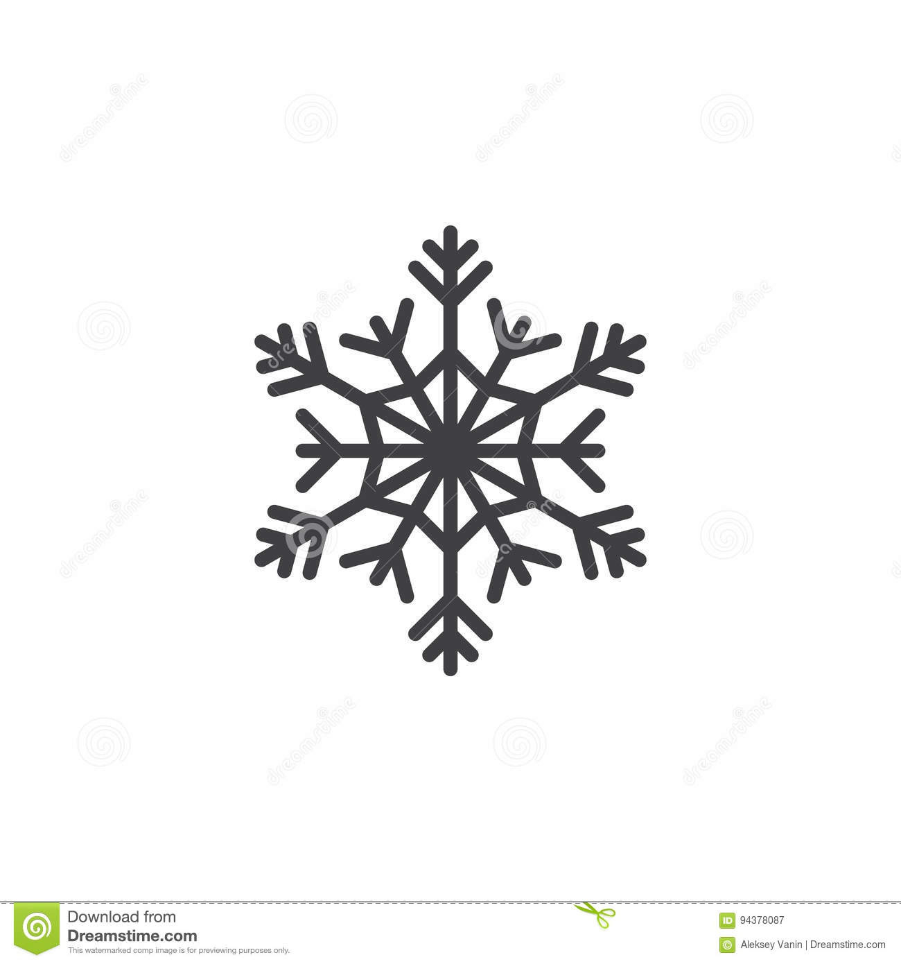 Cold Symbol Snowflake Line Icon Outline Vector Sign