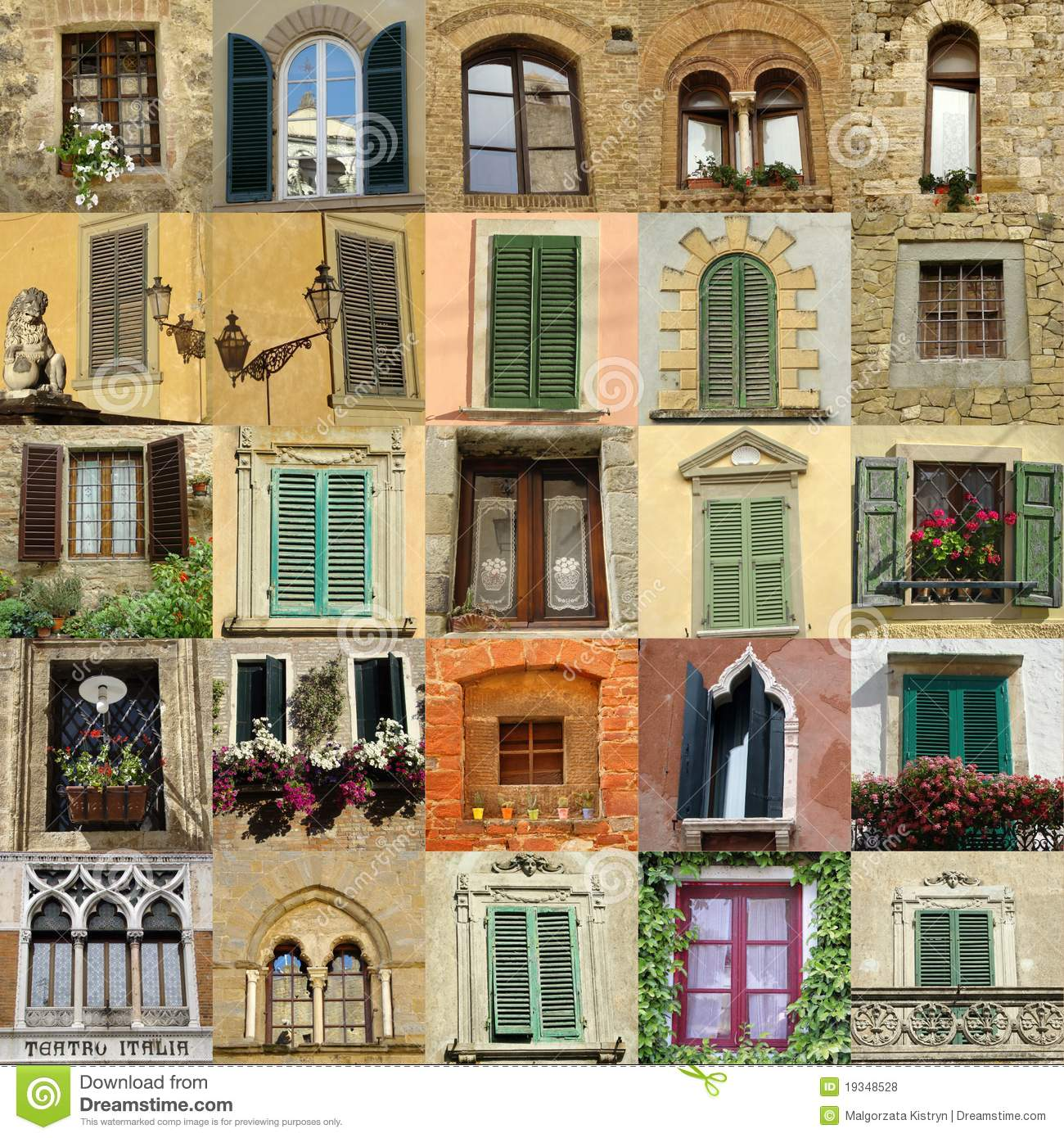 Collage With Antique Windows In Italy Royalty Free Stock