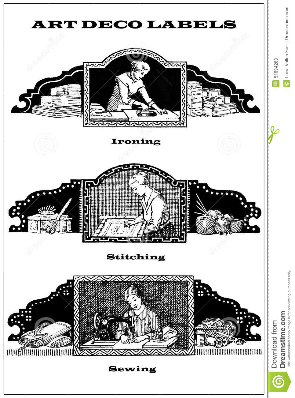 Collage Of 3 Art Deco Labels About Domestic Chores And