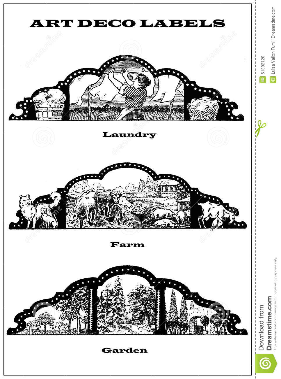 3 Collage Art Deco Labels About Laundry,gardening,farming
