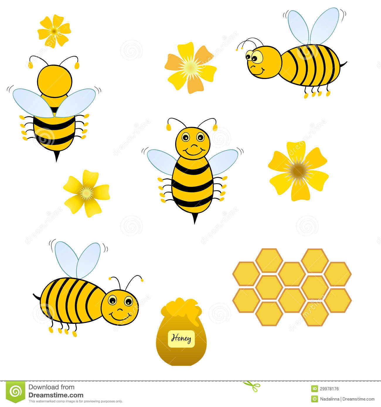 Bees collage stock illustration Illustration of cute