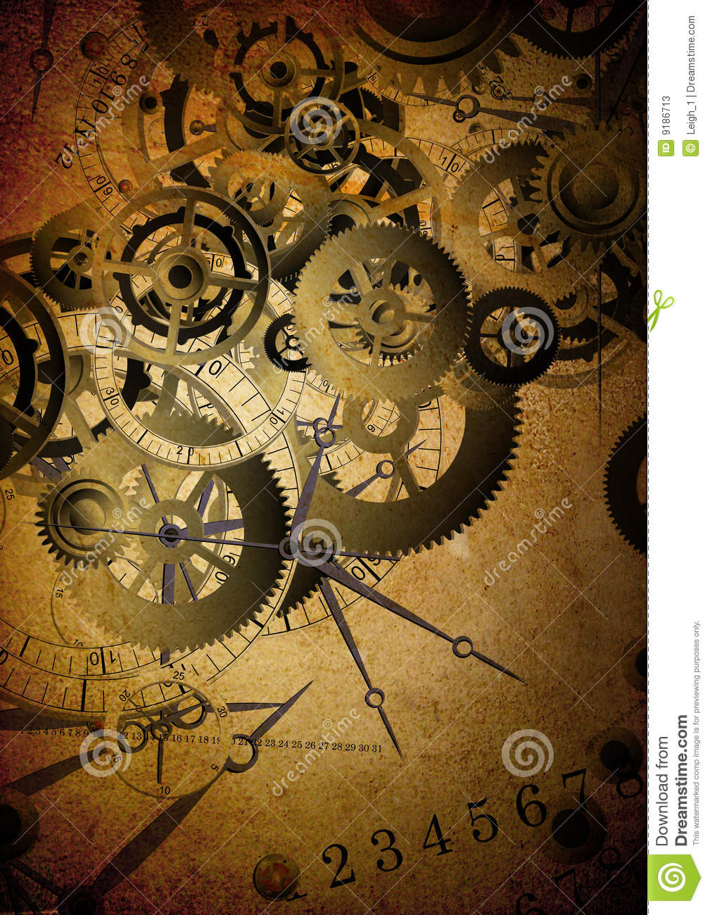 Collage Of Clocks On Vintage Background Stock Photos