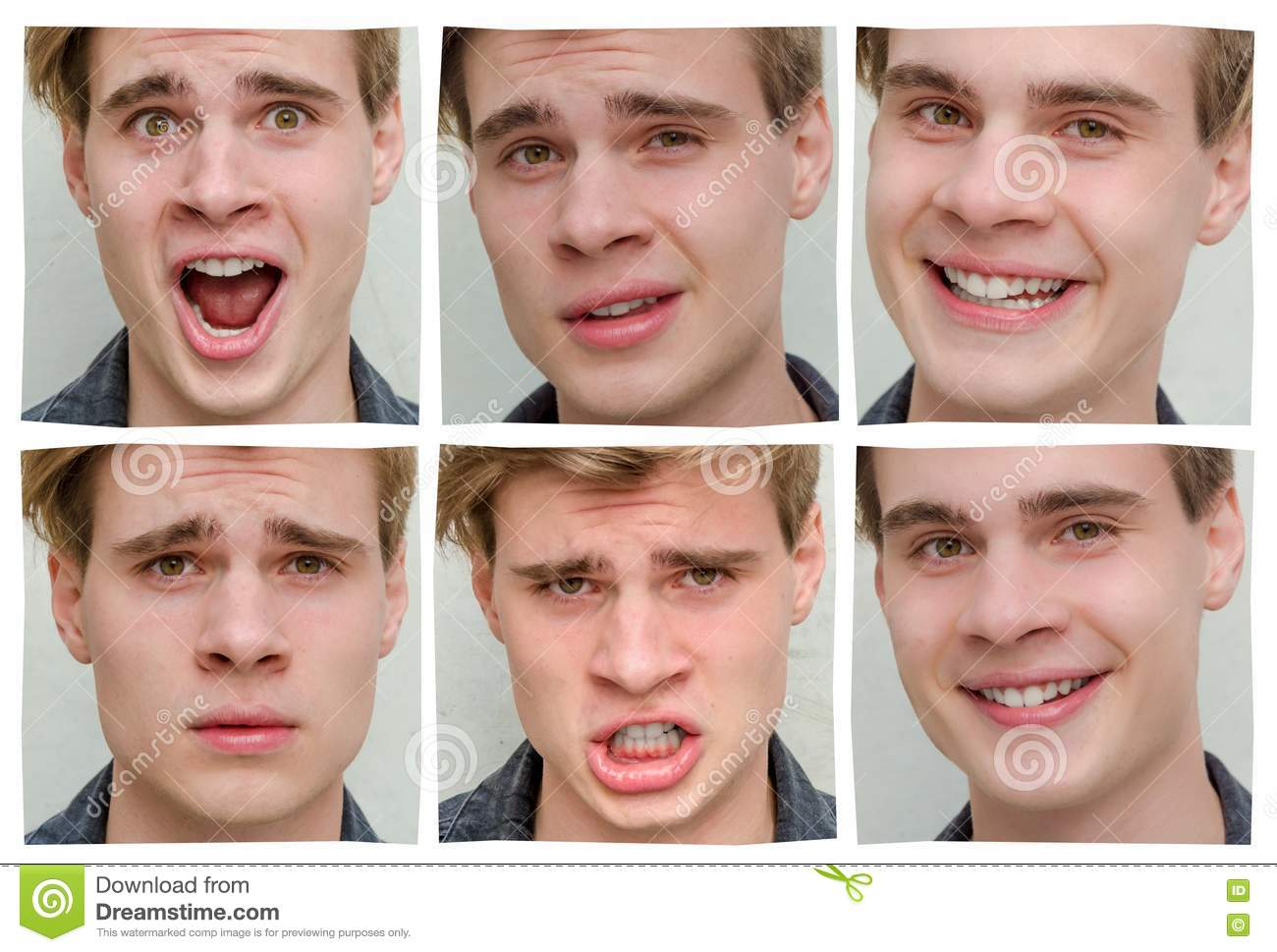 Collage Of Emotions And Moods Of Teen Boy In One Day Stock