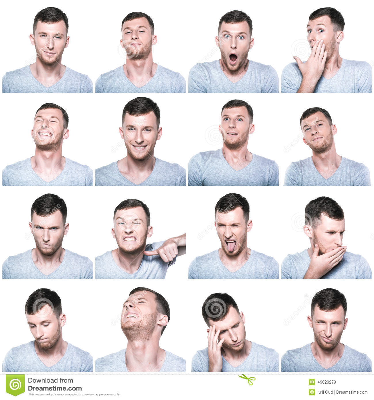 Collage Of Negative And Positive Face Expressions Stock