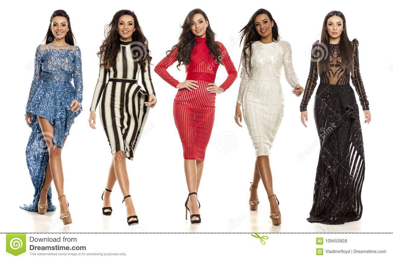 one woman different dresses