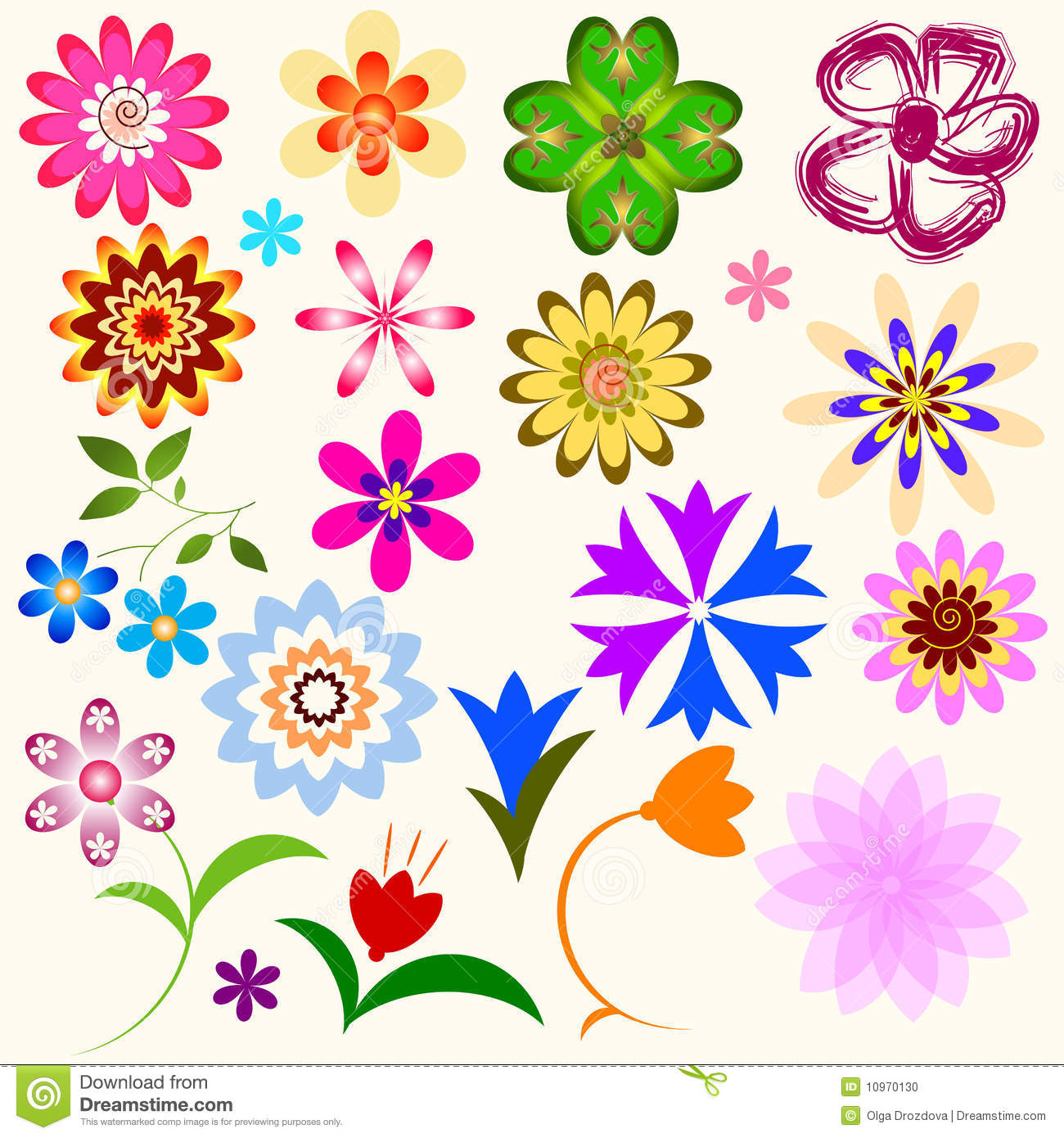 Collection Abstract Flowers Vector Stock Photo Image