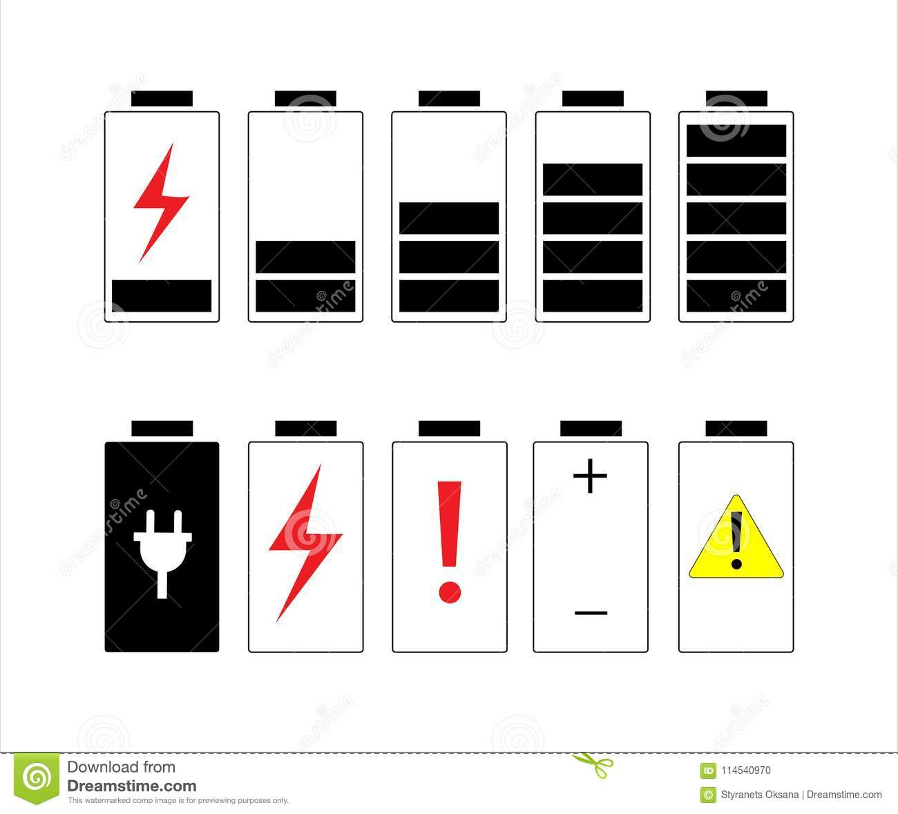 Set Of Icons With Different Types Of Electricity