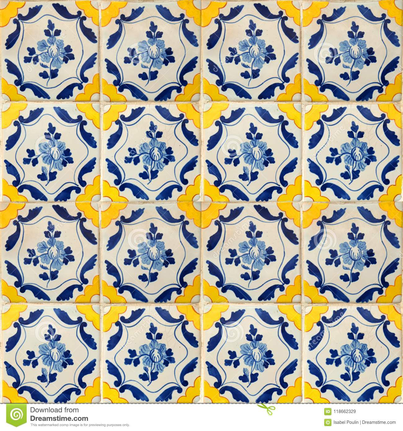 https www dreamstime com collection blue yellow patterns tiles photograph traditional portuguese flowers image118662329