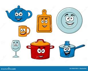 cartoon kitchenware inzameling saucepan plate royalty wineglass teapot bread mug pot isolated board vector