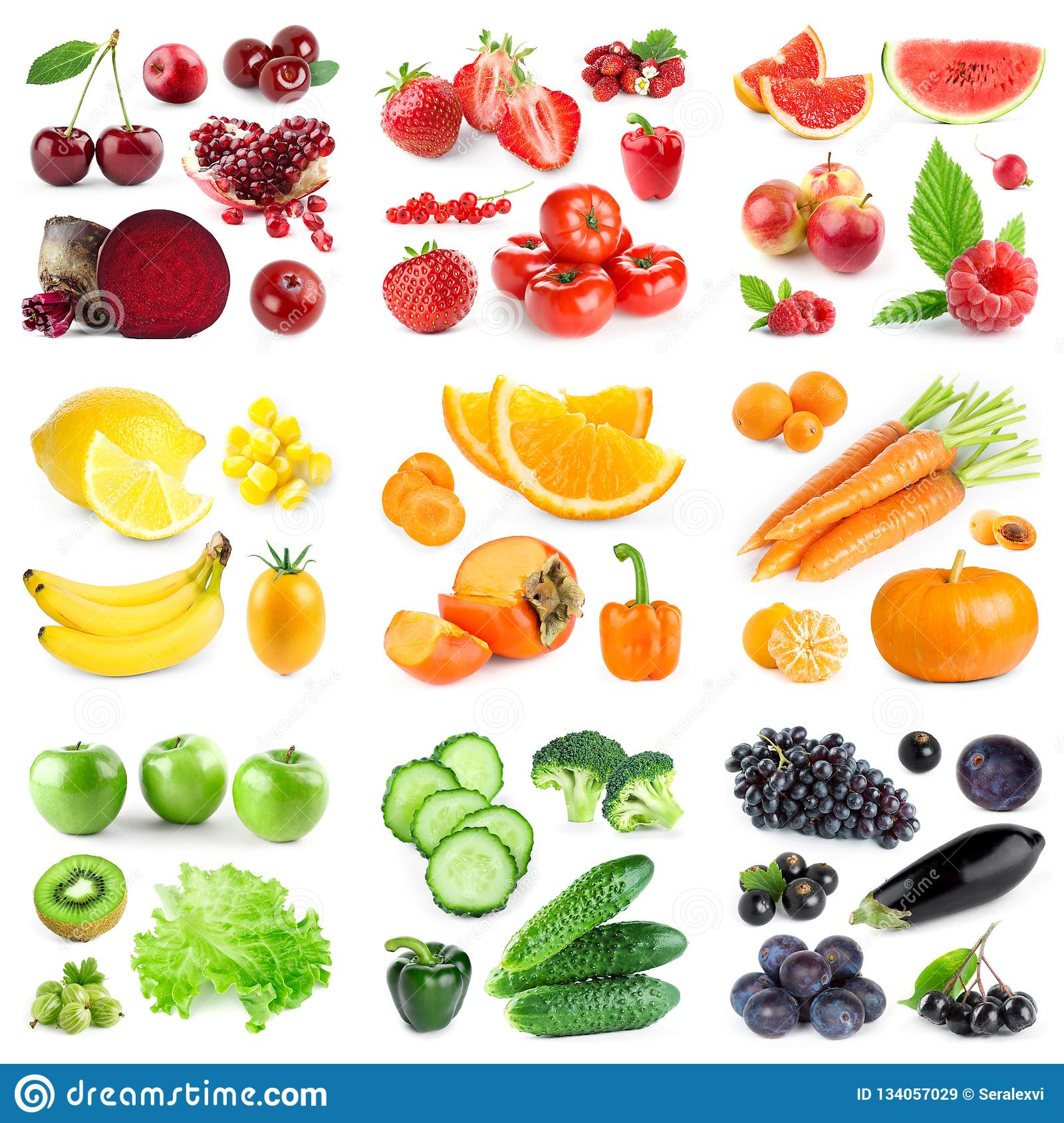 Collection Of Color Fruits And Vegetables On White Stock