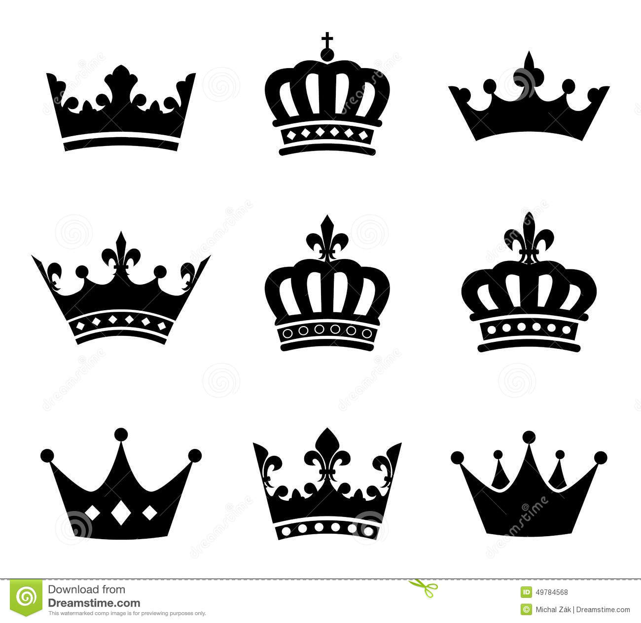 Collection Of Crown Silhouette Symbols Stock Vector