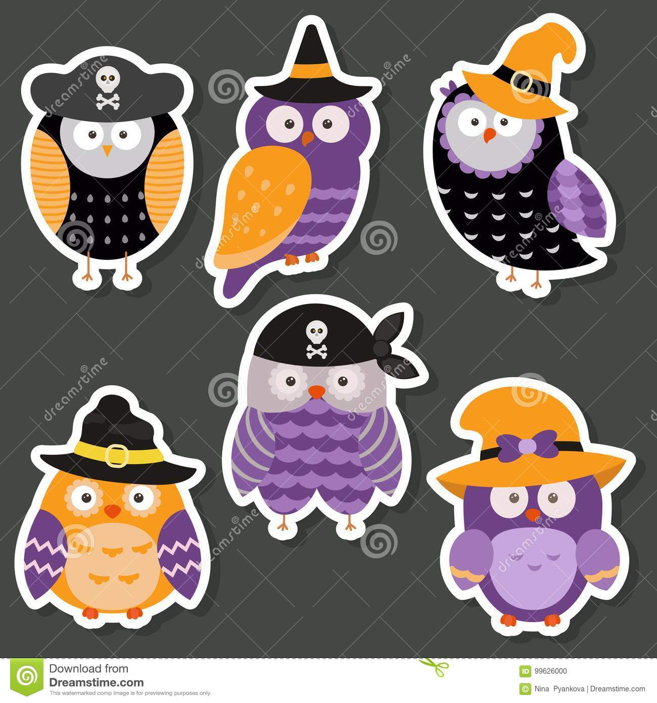 Cute Owl Decor Set Of Cute Owls Stock Vector Illustration Of Decor 99626000