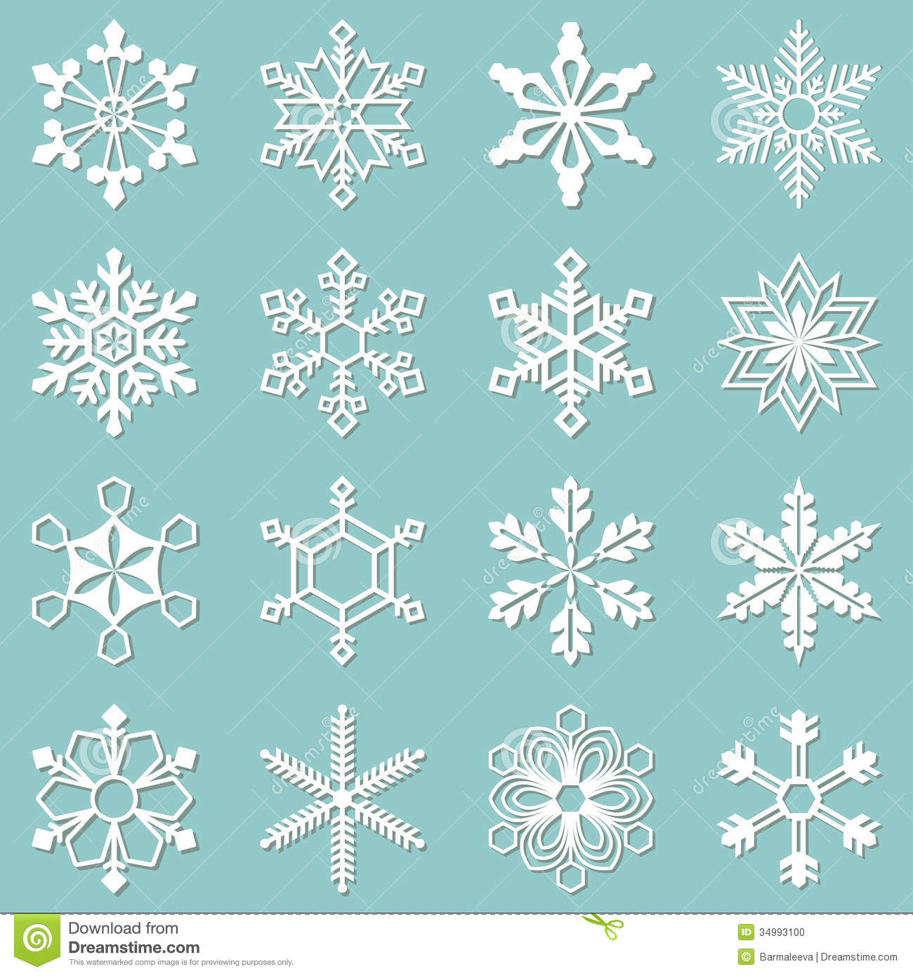 Collection Of 16 Different Snowflakes Stock Photo Image
