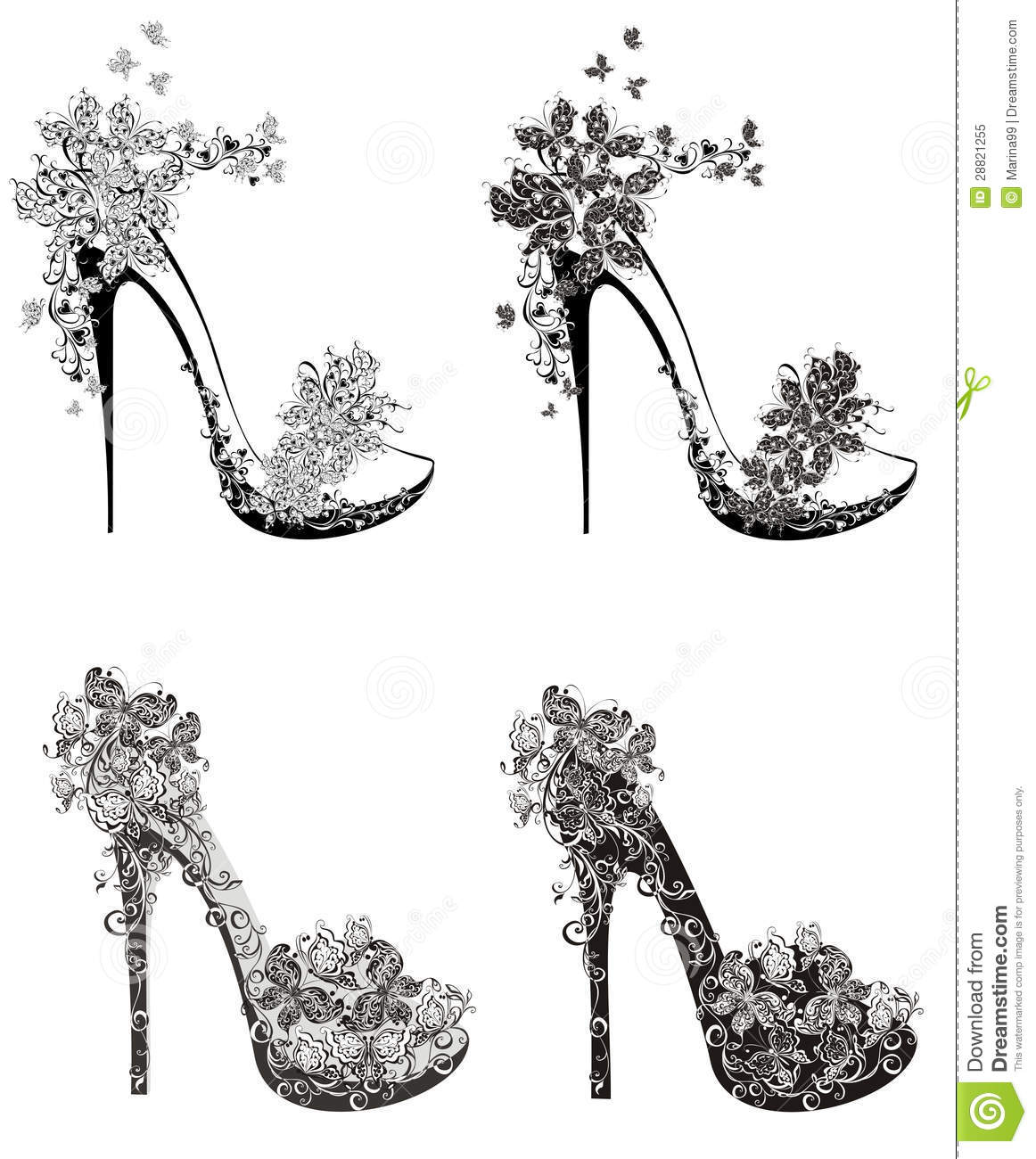 Collection Of Fashion High Heels Shoes Royalty Free Stock