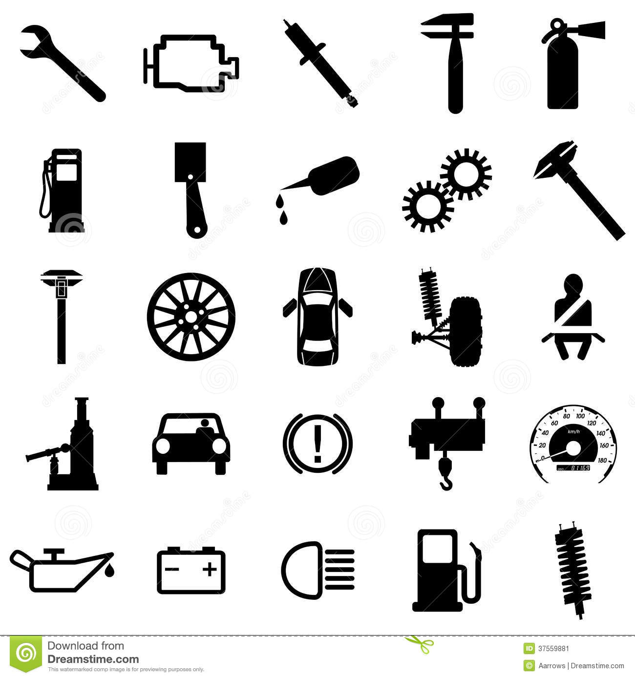 Collection Flat Icons Car Symbols Vector Stock Vector