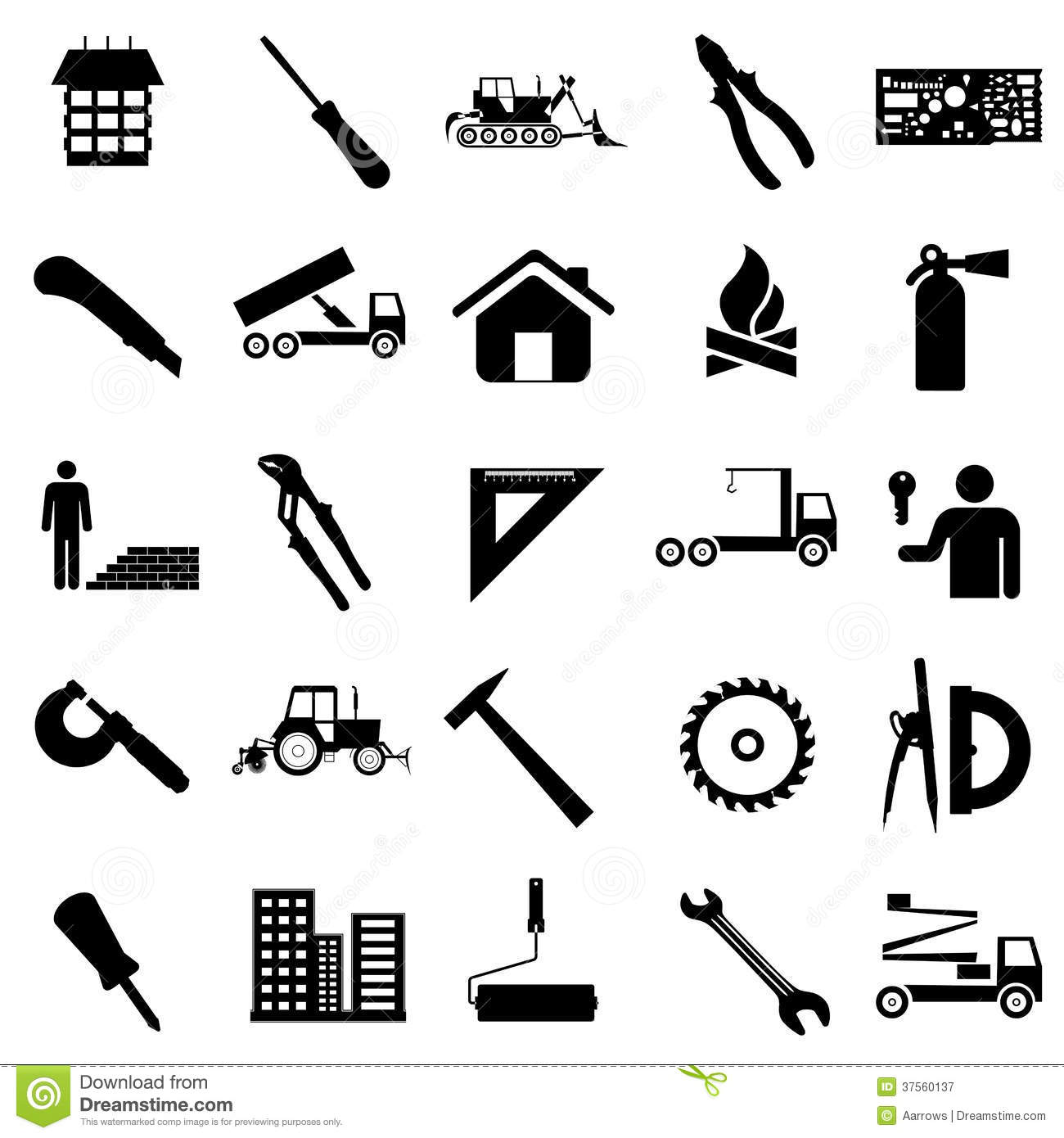 Collection Flat Icons Construction Symbols Royalty Free