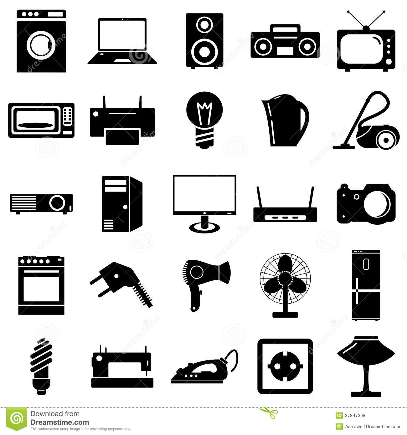 Collection Flat Icons Electrical Devices Symbols Stock