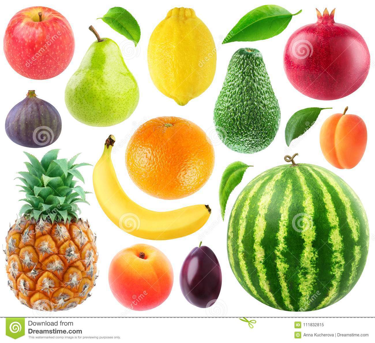 Collection Of Fresh Fruits Stock Image Image Of Cutout