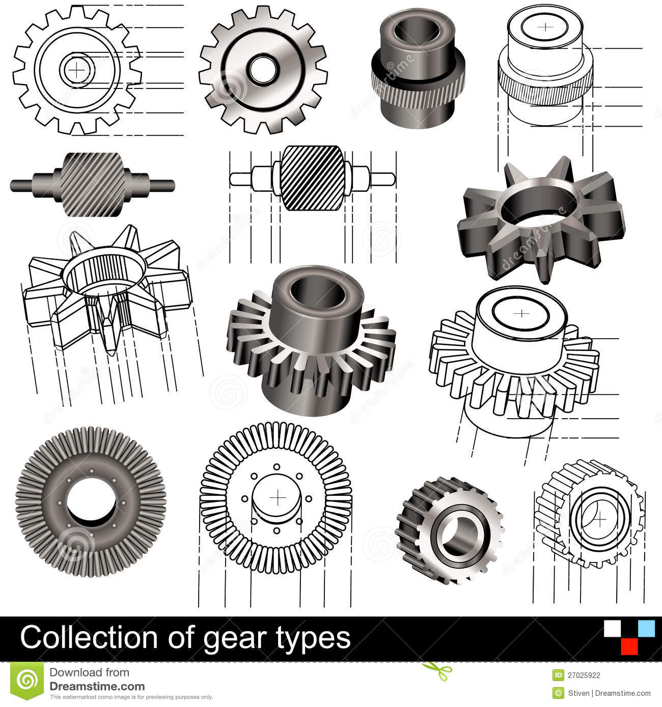 Collection Of Gear Types Stock Vector Illustration Of
