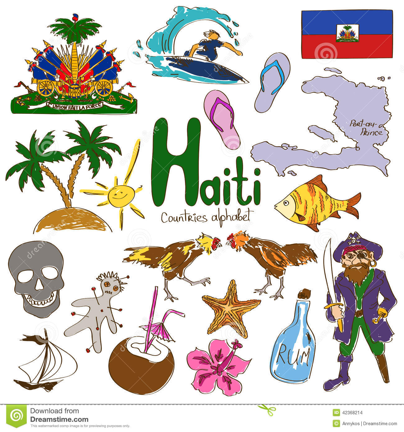 Collection Of Haiti Icons Stock Vector