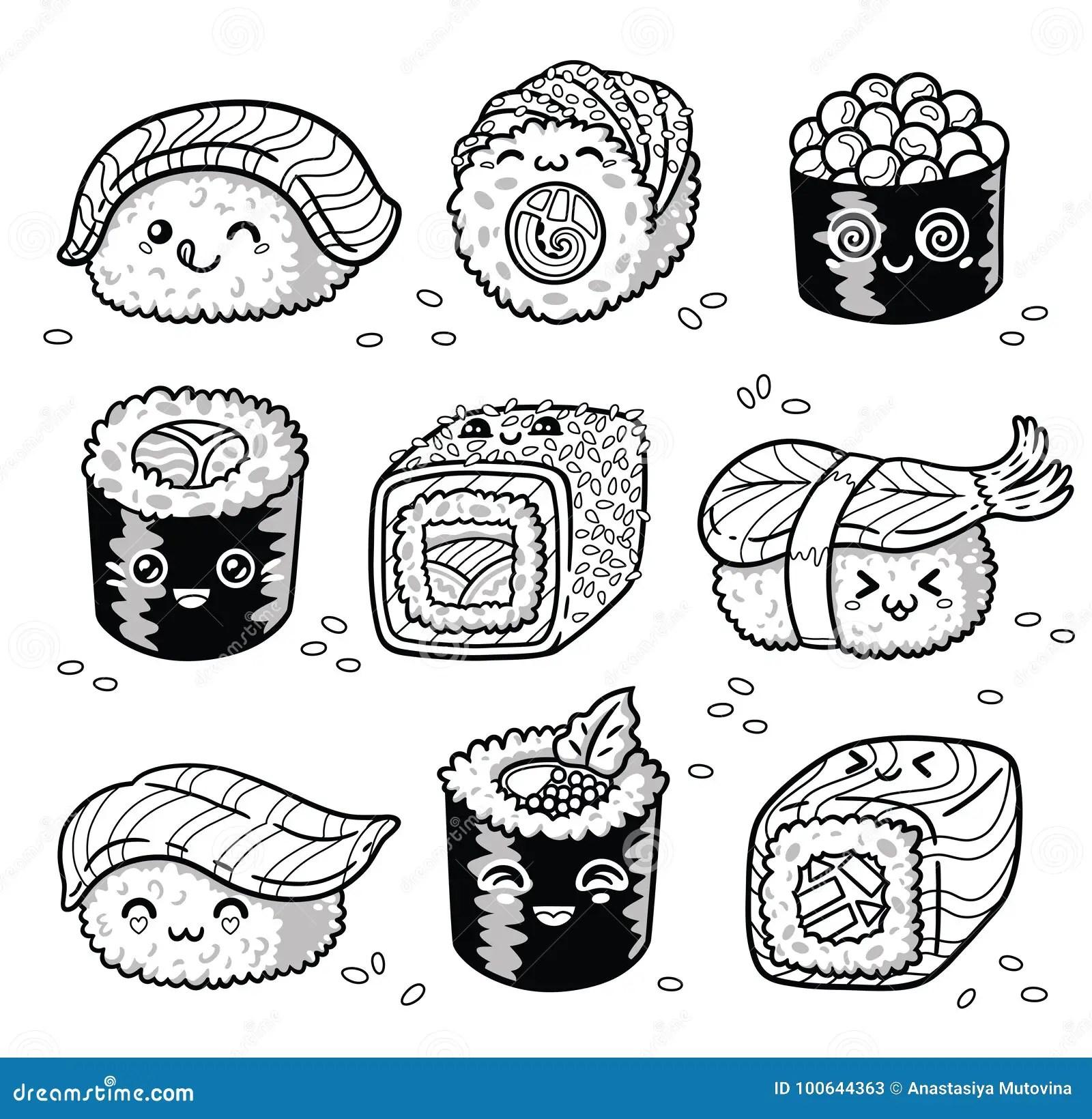 Kawaii Rolls And Sushi Manga Cartoon Set In Outline Stock