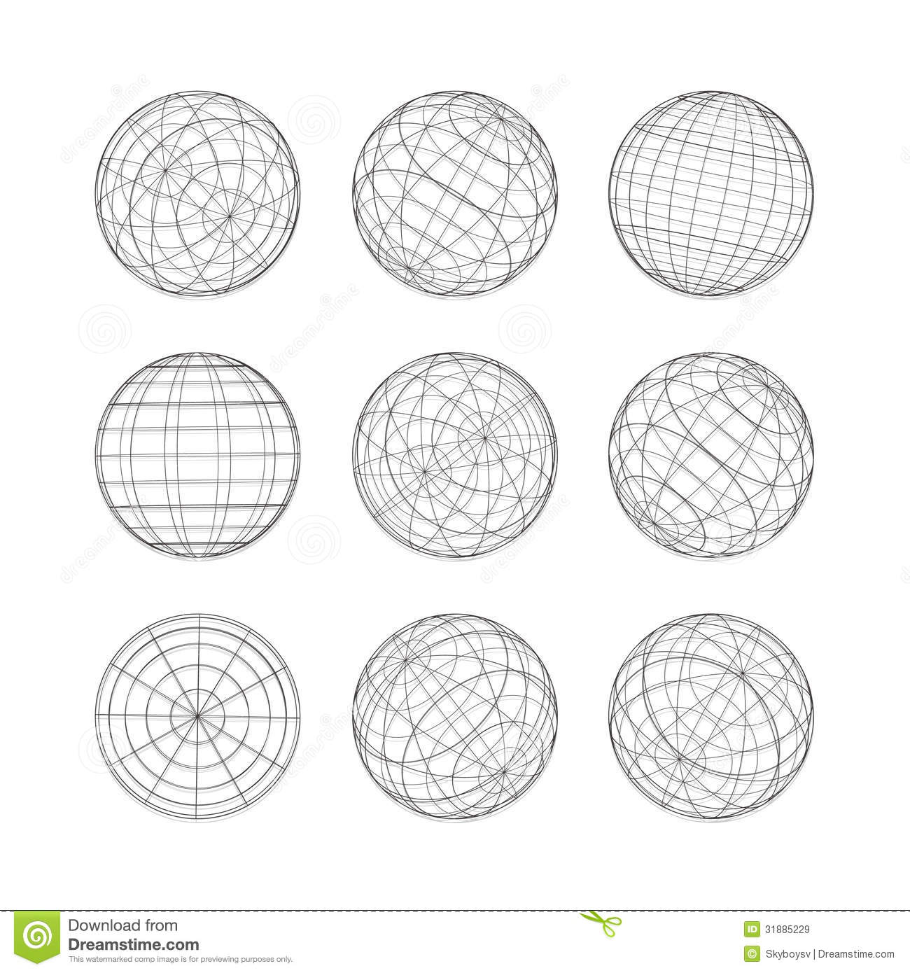 Collection Of Lines Ball Vector Template Stock Vector