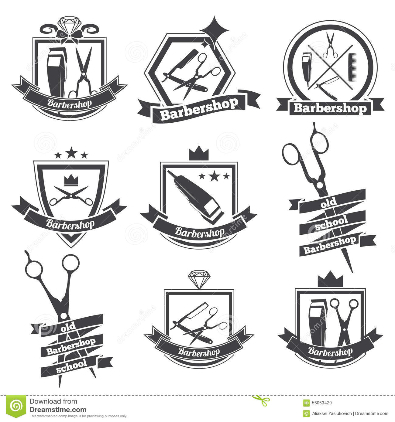 Collection logo barbershop stock vector Image of antique