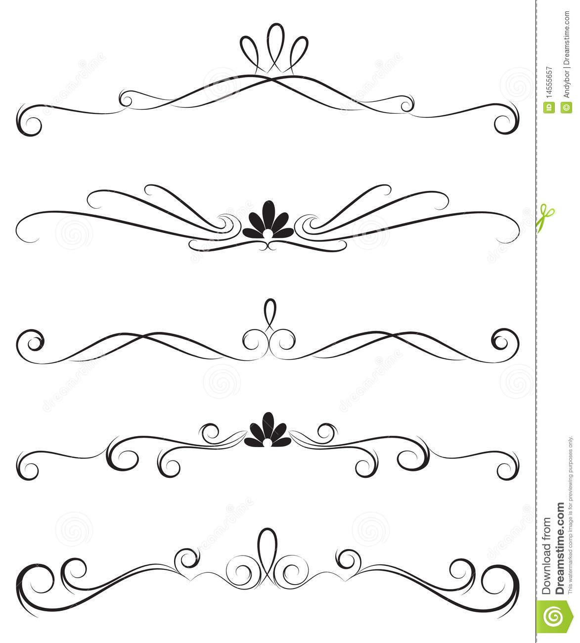 Collection Of Ornate Decoration Dividers Royalty Free
