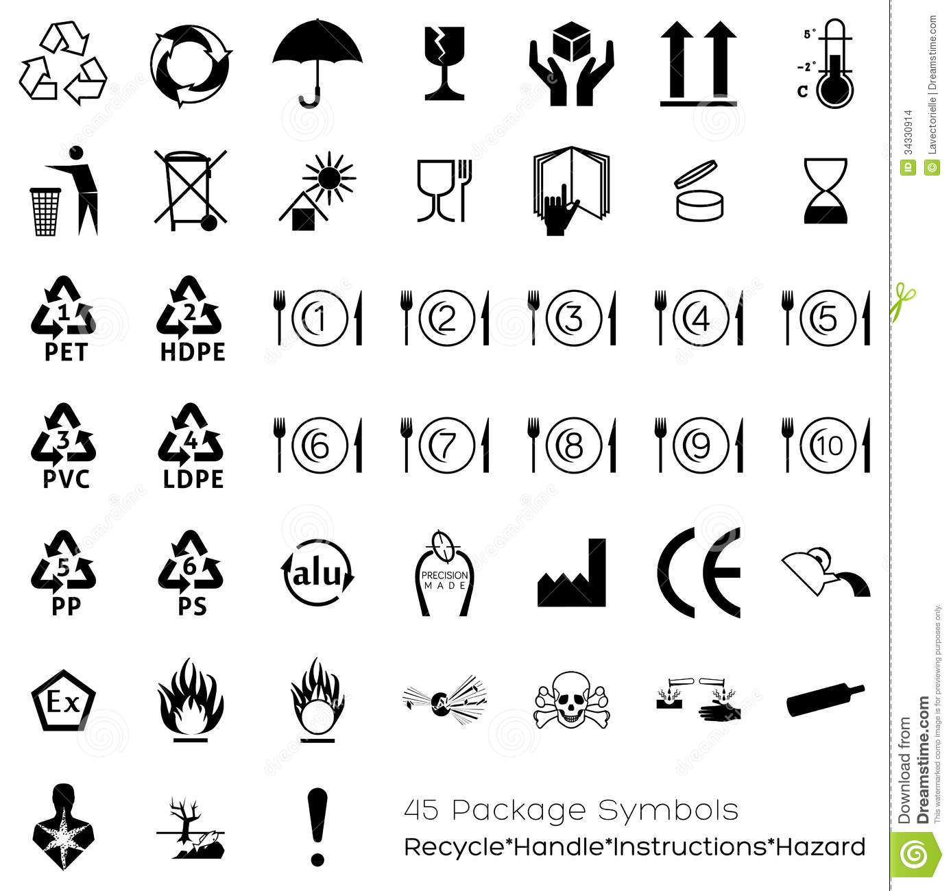 Collection Of 45 Packaging Symbols Stock Vector