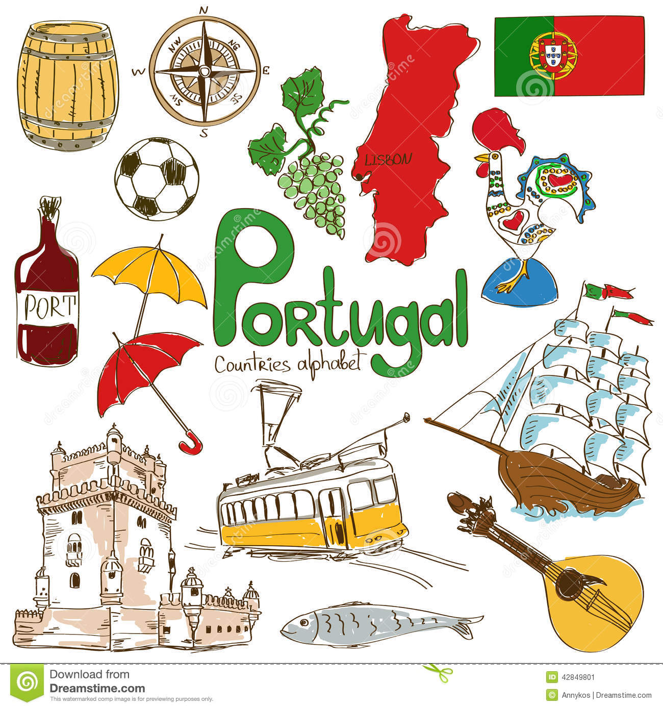 Collection Of Portugal Icons Stock Vector